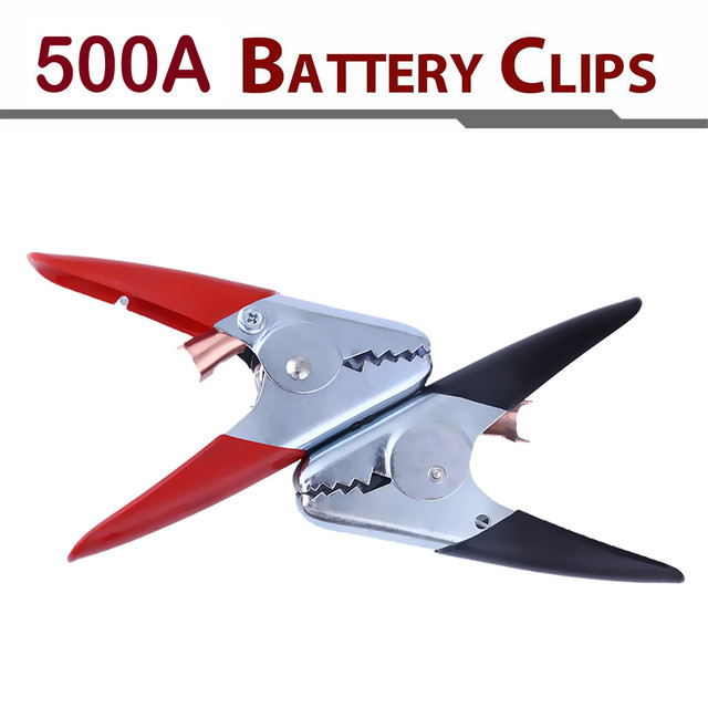 Wupp 2 x batería Clips 500A batería Clips de prueba abrazaderas para batería de coche Cable de arranque RD/BK 500 amp comercial de #509g50