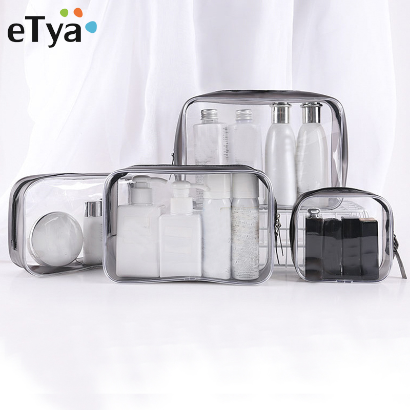 ETya Transparent Cosmetic Bag Clear Zipper Travel Make Up Case Women Makeup Beauty Organizer Toiletry Wash Bath Storage Pouch