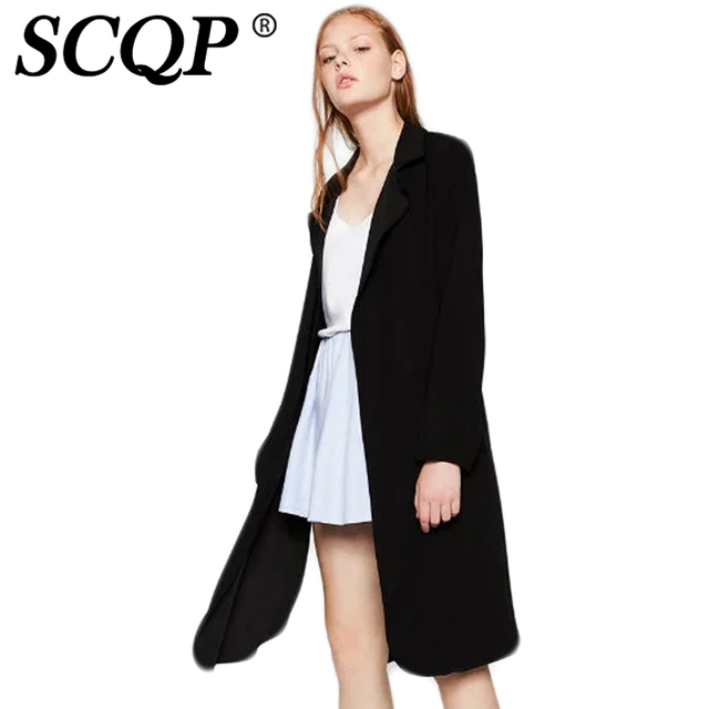 SCQP Fashion V-Neck Pockets Women Black Trench Coat  2016 Autumn New Long Sleeve Ladies Long Coat Casual Loose Women Trench Coat