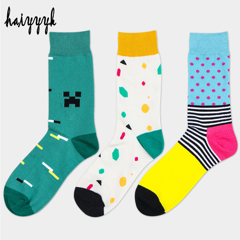 New combed cotton brand men socks size US 6-10 colorful dress socks funny socks 3 pairs / lot kz003