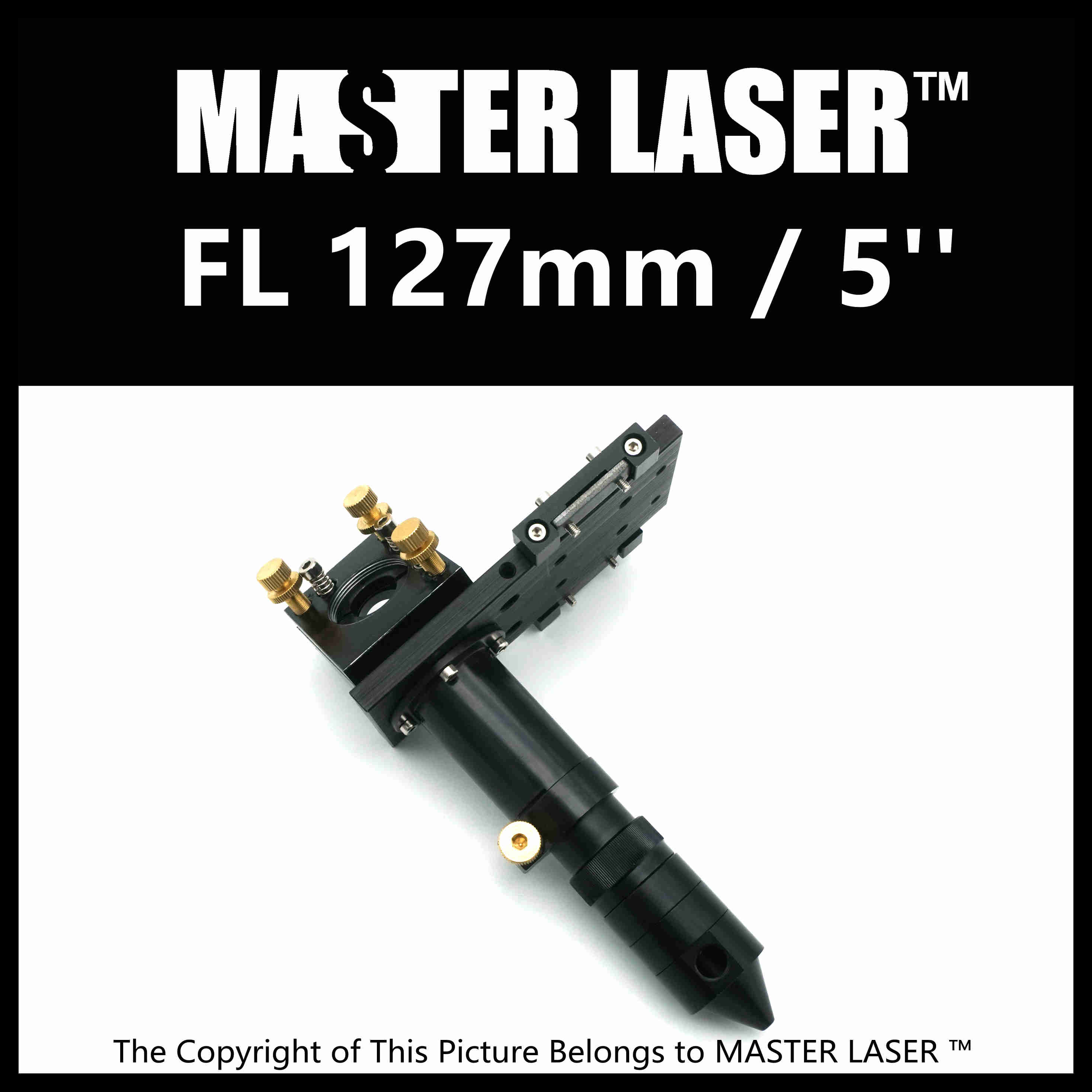 Laser Head for Focus Lens Dia. 19 & 20mm FL127mm Mirror 25mm Mount for Laser Engraving Cutting Machine