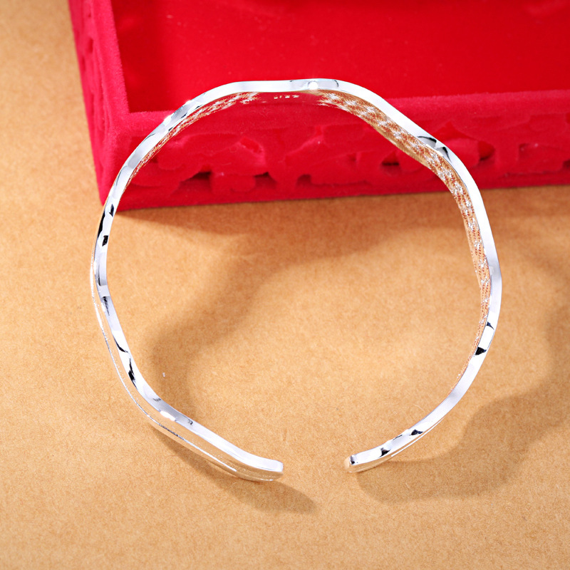 100 925 sterling silver fashion water wave ladies bangles jewelry no fade bangle cheap birthday gift drop shipping in Bangles from Jewelry Accessories