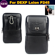 Wallet Phone Bag/Genuine Leather Carry Belt Clip Pouch Waist Purse Case Cover for DEXP Lxion P245 Phone Bag Case Free Shipping