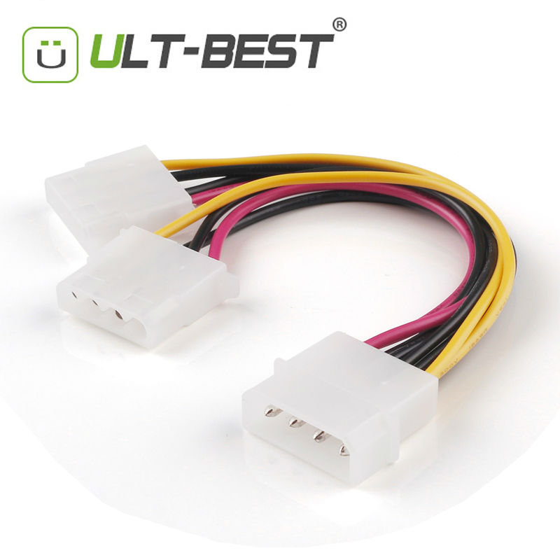 ULT-Best SATA Molex 4 Pin Male to Molex 4pin Female Extension Cable Power Supply Y Splitter Cables 15CM