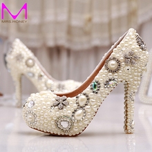 Wholesale Amazing Elegant Ivory Pearl Party Prom font b Shoes b font font b Custom b