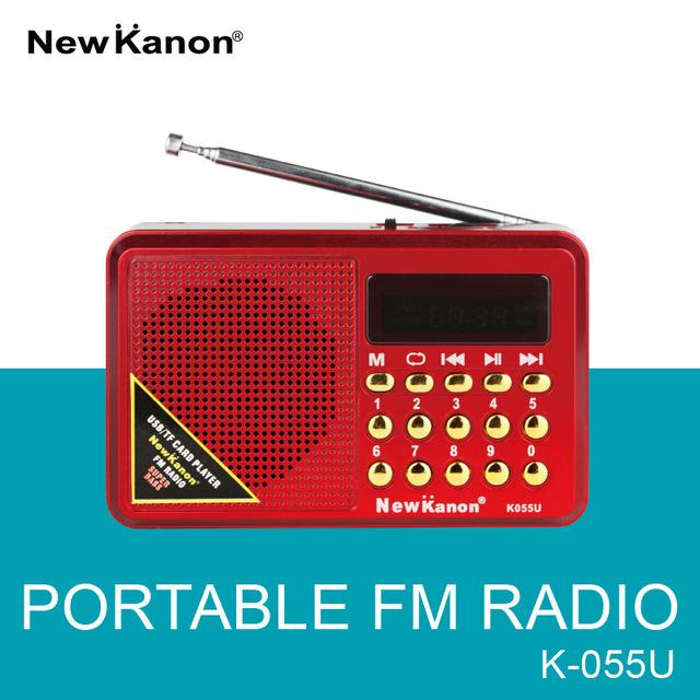 NewKanon K055U FM radio MP3 formato de grabación grabadora Micrófono altavoz estación de radio receptor de Radio Freeshipping