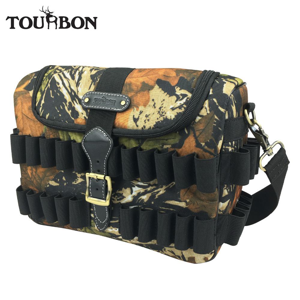 Tourbon Hunting Gun Accessories Camo Cartridges Bag 12 Gauge Tactical Speed Loader Shooting Ammo Bullet Case