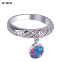 KELITCH Brand 2017 New Design Tope Quality Sterling Silver Ring Burning Sea Color Opal Pendant Round