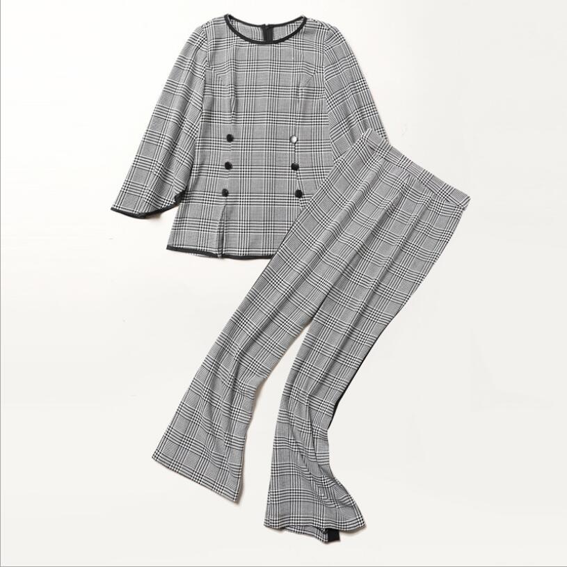 Vêtements Pièce Femmes Jambe Tailles Gris 2 Tops Large Et Haute Split Côté Ensemble Manches À Ol Plus Volants Taille De Pantalon Plaid gqRqnBAS