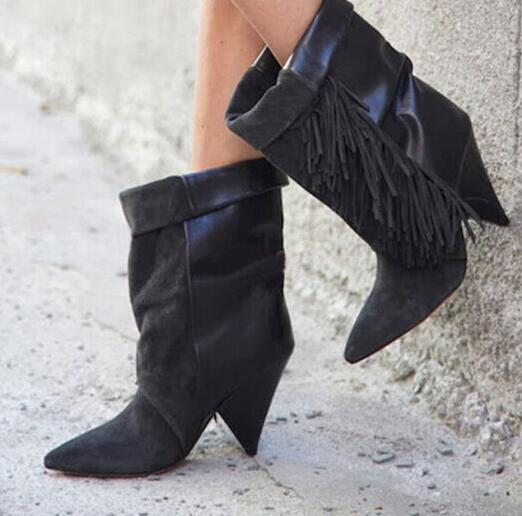 Cheap Women Black Suede Fringe Ankle Boots Cone Heels Fold Over Short Bootie High Quality Pointy Toe Tassel Gladiator Shoes