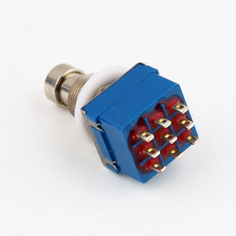 Новое поступление 9-контактный 3PDT Гитары педаль коробка Stomp ног Металл Выключатель Правда Bypass Бесплатная доставка ...