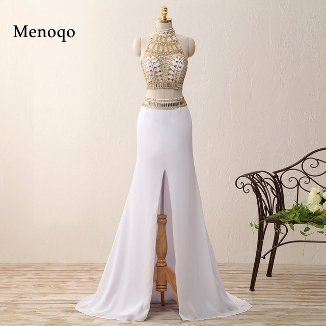 d951139f0fce5c Real Sample Mermaid Middle Slit White and Gold Crystal vestidos de gala  galajurken 2018 Party Dresses Two Piece Prom Dresses