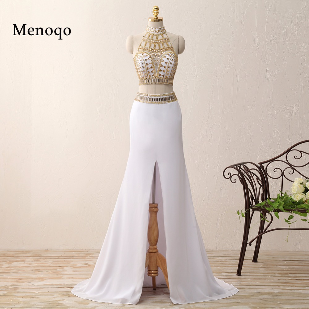 Real Sample Mermaid Middle Slit White and Gold Crystal vestidos de gala galajurken 2018 Party   Dresses   Two Piece   Prom     Dresses