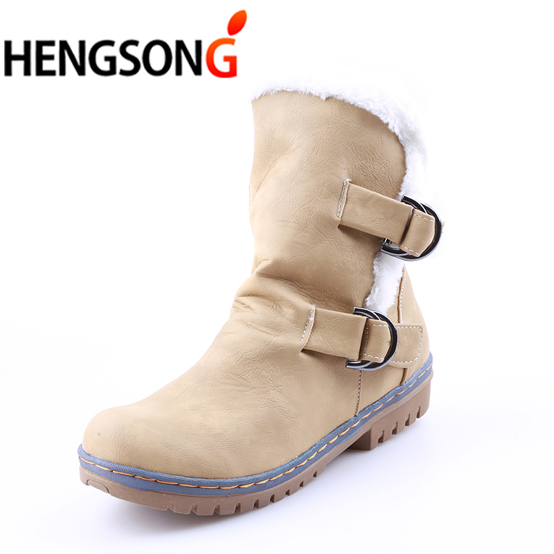 Fashion Winter Boots Women Snow Boots Flat Heels Winter Shoes Warm Fur Boot Mid-Calf Spring Autumn Women's Shoes Plus Size 34-43 coolcept size 35 40 ross strap flat mid calf boots women thickened fur winter warm snow half short boot footwear shoes p21267