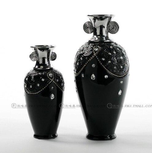 Высокого качества черного цвета с цветочками для вечеринок украшения неоклассическом стиле посеребренные двойные Ушастый white diamond инкрустированные элегантная декоративная ваза - Цвет: Buff