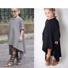 ARLONEET Fashion Summer Cute Kids Lovely Kids Baby Girls Long Sleeve Solid Cotton Rotating Dress Kids Vestido Infantil H30#