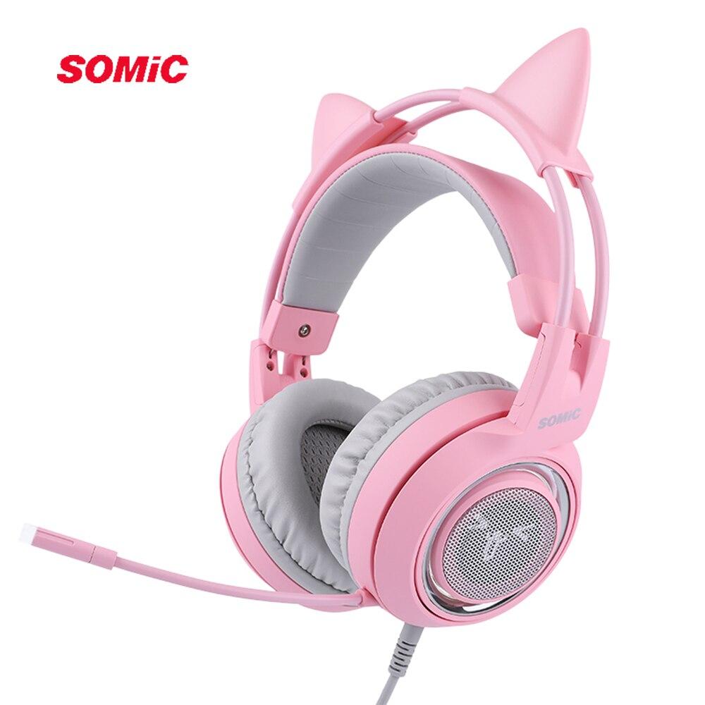 SOMIC G951 rose chat casque virtuel 7.1 suppression de bruit casque de jeu Vibration LED USB casque enfants fille casques pour PC