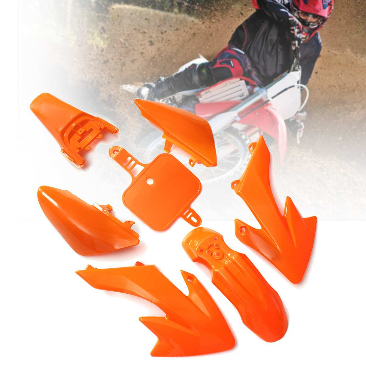 Orange Plastics -Fender Fairing Kit For HONDA CRF XR 50 CRF50 125 SSR SDG 107 PIT BIKE tdr tall seat plastics fender gas fuel tank for honda crf50 crf50 dirt pit bike motor quality 3pcs set free shipping