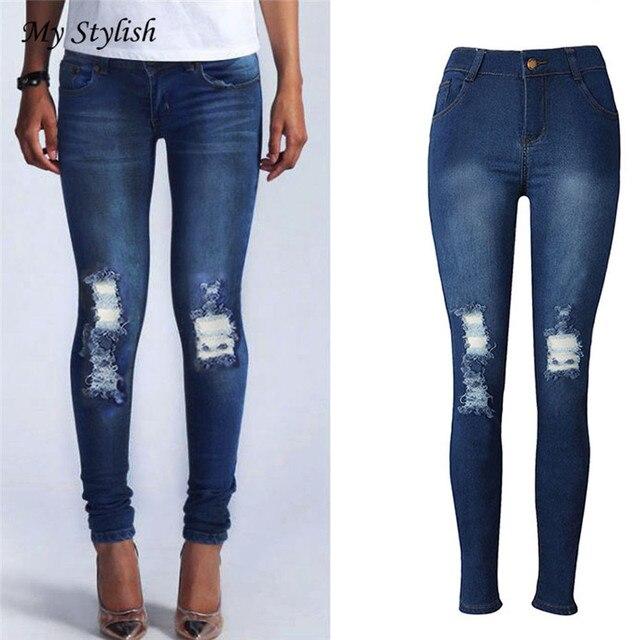 Mezclilla Nueva Barato Para Mujer Jeans De Precio Moda Skinny YZR55 374c41ca0d39