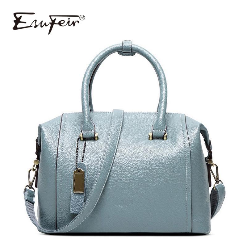 ceca867e41e9a ESUFEIR New 2018 Embossed Leather Boston Women Handbag Fashion Pillow Women  Bag Simple Shoulder Bag bolsos Ladies Bag sac a main