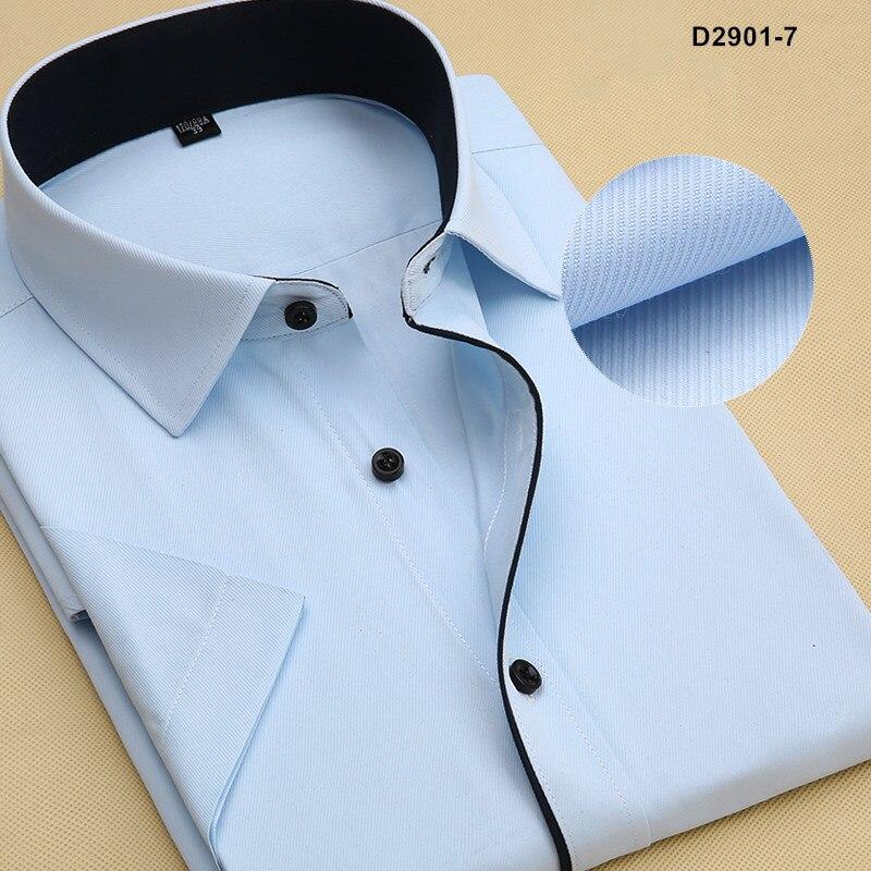 Летняя Стильная мужская брендовая одежда с отложным воротником, рубашки с коротким рукавом, мужские рубашки, приталенная Однотонная рубашка для мужчин - Цвет: D29017