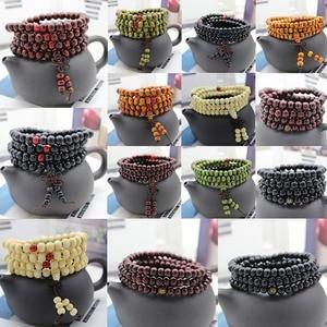 Image 1 - 6/8mm Natural Sandalwood Buddhist Buddha Meditation Beads Bracelet For Women Men Prayer Bead Rosary Hanging Decoration #280748