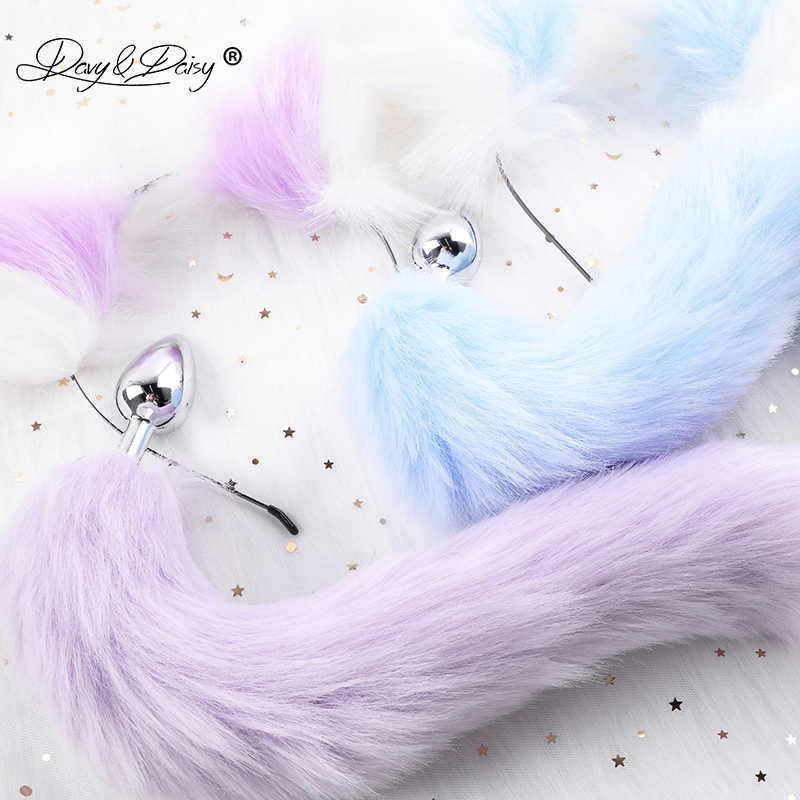 DAVYDAISY นุ่มน่ารัก Cat Ears Headbands Faux Fox TAIL Bow โลหะก้น Anal Plug คอสเพลย์สำหรับผู้ใหญ่อุปกรณ์เสริมสำหรับหญิง AC111