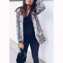 2018 Otoño e Invierno explosiones sexy serpiente patrón de manga larga  camisa de las mujeres de moda de nuevo leopardo Mujer cha. 3be58e610b46