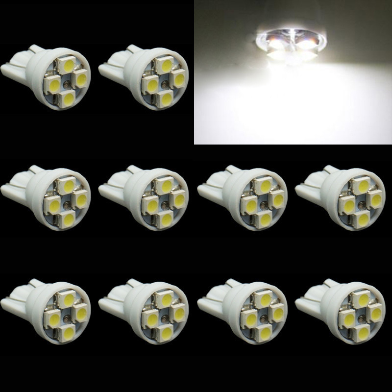 CQD-Light 10X  T10 4 SMD 1210 3528 194 168 w5w LED car Wedge License Plate Indicator clearance lamp light blub 12V DC