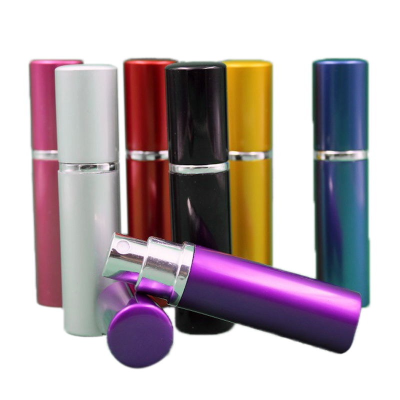 20Pc bottle 5ml Aluminium Anodized Compact Aftershave Atomiser Atomizer fragrance glass scent-bottle Mixed color