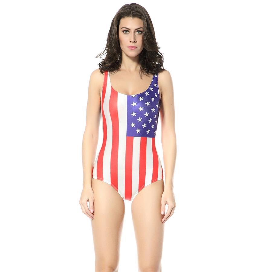 eee57da01 Bathing Suits Women 2016 Sexy Summer Style Swimwear One Piece USA American  Flag Swimsuit One Piece Printed Beach Wear for Girls