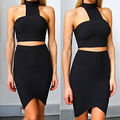 Elegant Two Piece Bodycon Black Party  Evening Slim Midi Dress 2 4 6 8