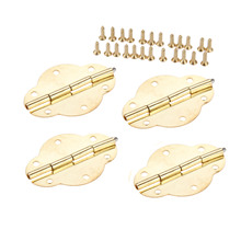4Pcs 46x35mm Vintage Jewellery Box Hinge Gold Decoration Door Hinges For Wooden Cabinet Door Furniture Hardware with Screws thickness 8 stainless steel wooden door hinge heavy duty hinges mute door project auxiliar hardware with screws k152