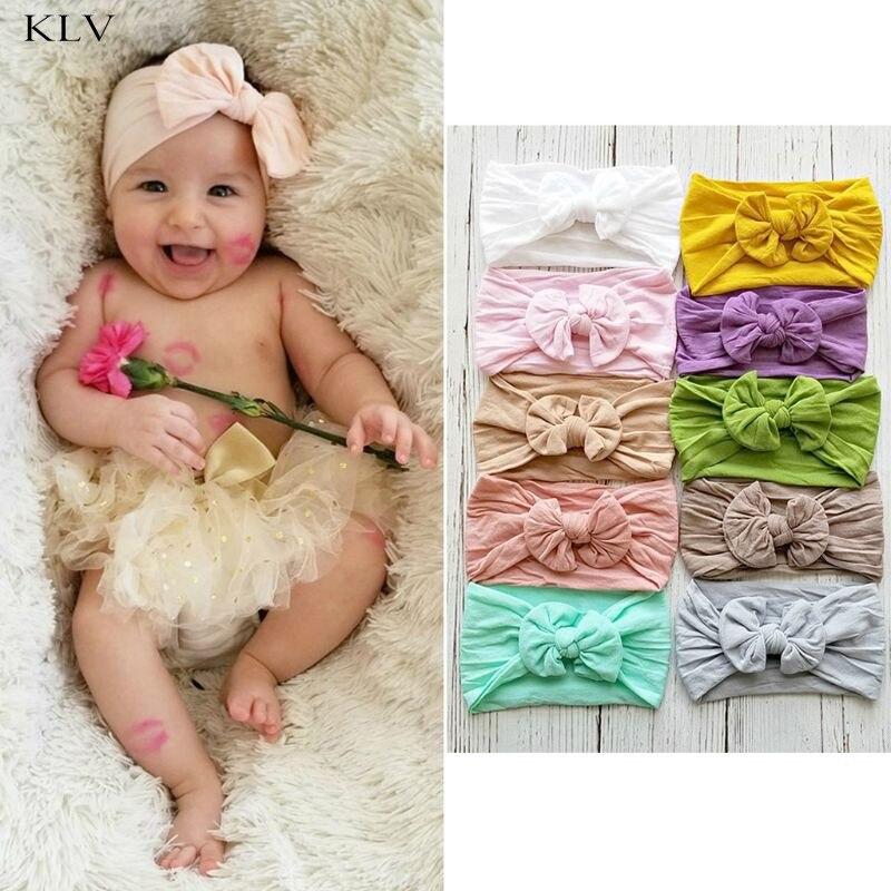 Baby Mädchen Nylon Breite Bogen Stirnband Knoten Kopf Wraps Eine Größe Passt Die Meisten 18 Farben