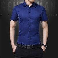 Для мужчин с короткими рукавами рубашка Slim Fit Стиль Дизайн одноцветное Цвет Бизнес повседневные платья рубашка мужской социальной бренд Дл...