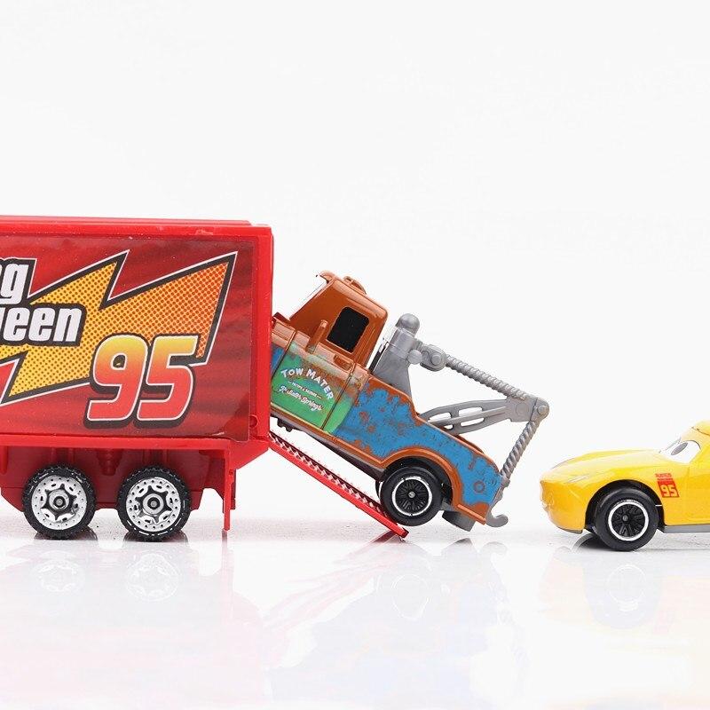 Купить с кэшбэком Disney Pixar Cars 3 7pcs/Set Lightning Mcqueen Jackson Storm Cruz Mater Mack Uncle Truck 1:55 Diecast Metal Model Car For Kids
