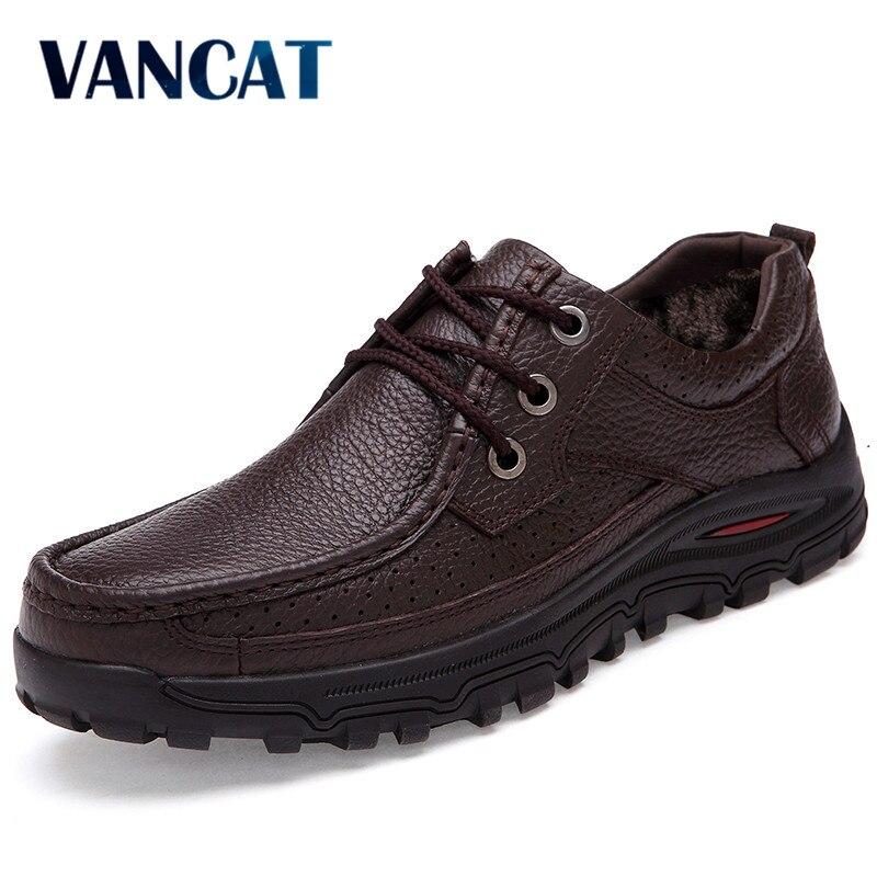 VANCAT Genuine Leather warm men boots large size 48 fashion winter boots,comfortable ankle boots men shoes,quality snow boots