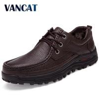 VANCAT Genuine Leather Warm Men Boots Large Size 48 Fashion Winter Boots Comfortable Ankle Boots Men