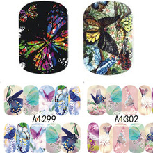 2 sheets with Designs Colorful Butterfly Full Cover Water Transfer Decals Nail Art Manicure DIY Sticker Fingernail Wraps 12 designs nail art sticker decals water transfer cartoon unicorn designs colorful diy nail wraps tips manicure sabn637 648