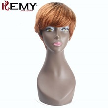 KEMY HAIR FASHION Short Human Hair Wigs With Baby Hair Bang Non Remy&Lace Daily Full Brazilian Bob Straight Wigs For Black Women