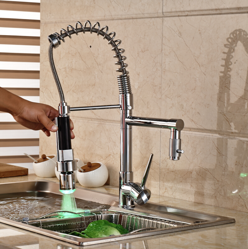 Deck Mounted LED Chrome Brass Kitchen Faucet Double Sprayer Sink Mixer Tap Single Handle