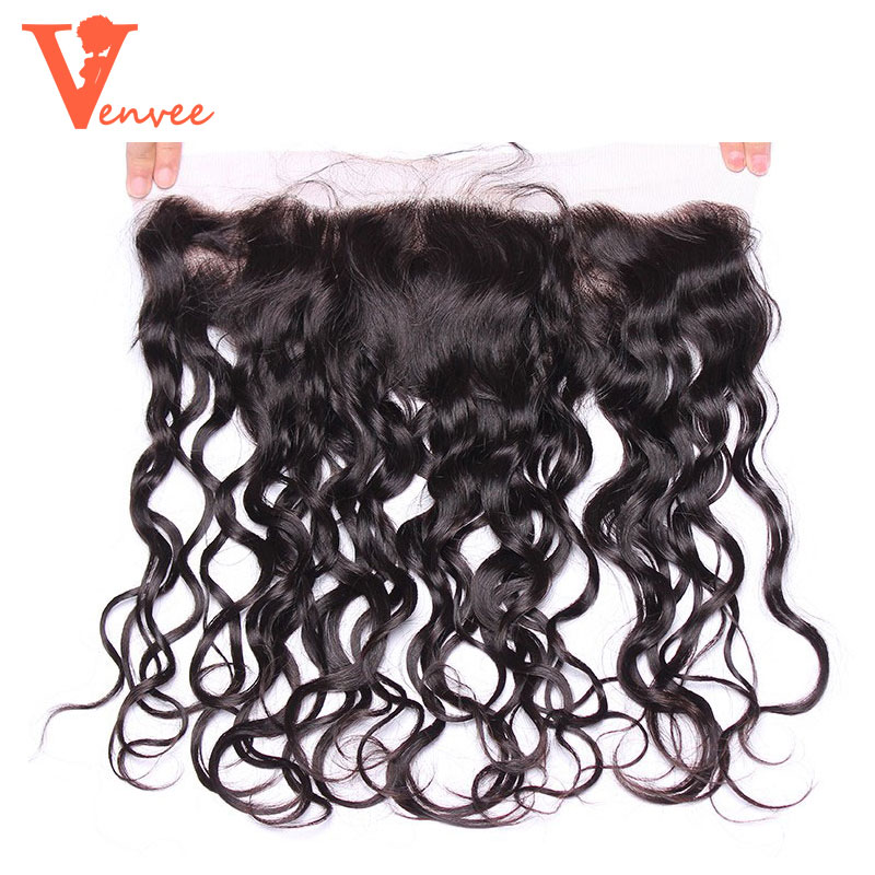 13X6 Water Wave Lace Frontal Closure Free Part Pre Plucked Frontal Peruvian Virgin Hair Ear To Ear Lace Frontal Closure Venvee
