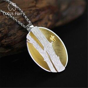 Image 1 - Lotus Fun pendentif en argent Sterling 925, bijou fin fait à la main, Design doiseaux sur Branches, pendentif sans collier pour femmes