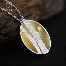 Lotus eğlenceli gerçek 925 ayar gümüş el yapımı güzel takı yaratıcı kuşlar dalları tasarım kolye kolye olmadan kadınlar için