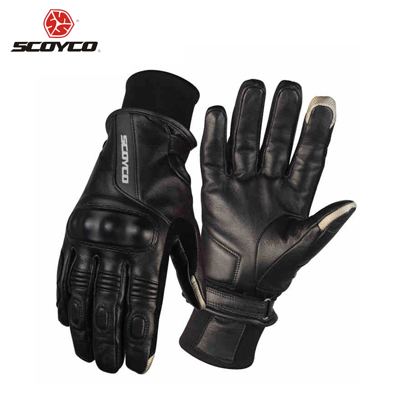 SCOYCO Motorcycle Gloves Leather Riding Gloves Motocross Full Finger Long Cycling Racing Guantes Moto Luvas Protective Gear