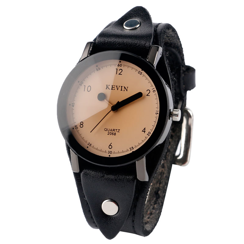 цена на KEVIN Fashion Round Dial Sport Simple Rock Cool Punk Casual Wristwatch Quartz Analog Watches Women Mens Faux Leather Band Strap