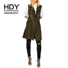 HDY Haoduoyi Long Casual Vests Female Army Green Turn-down Collar 2019 Double  Breasted Pocket Slim Personality