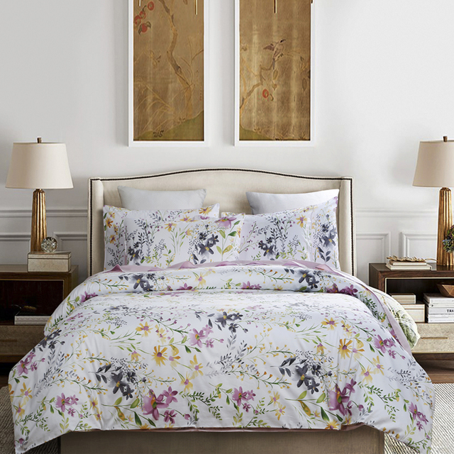 Luxury Satin Bed Linen Egyptian Cotton Bedding Set King Queen Size High Quality Printing Sheet