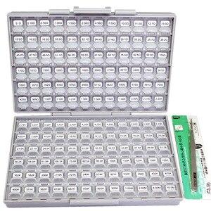 Aidetek novo smd 0603 1% 144 valores resistor kit 10 mohm sortidas 14400 caixa-tudo de uk navio lables plástico peça caixa r06e24100
