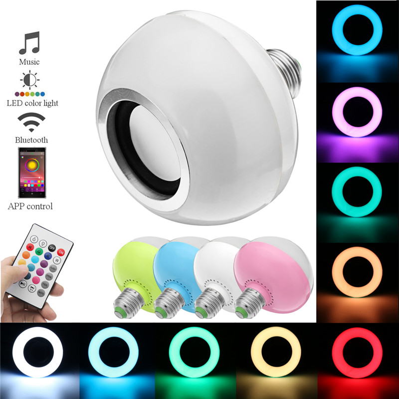 RGB E27 12W LED Light Bulb Wireless Bluetooth Speaker Music Playing Colorful Lamp Bulb Lighting Muis Bulb With Remote Controller smuxi e27 led rgb wireless bluetooth speaker music smart light bulb 15w playing lamp remote control decor for ios android